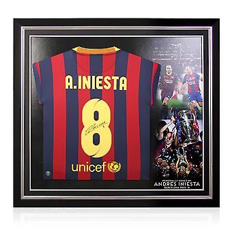 Andres Iniesta Signert Barcelona Skjorte 2013-14. Premium ramme