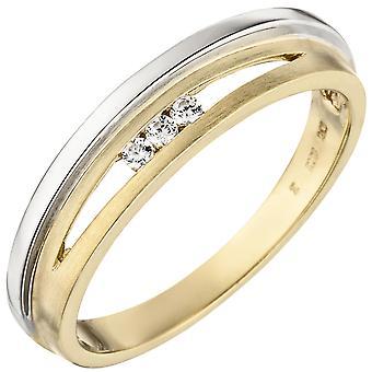Naisten rengas 375 kultaa keltainen kulta valkoinen kulta bicolor matt 3 kuutio zirkonia kultarengas