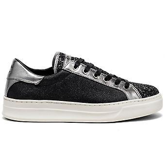 Crime London Klasszikus fekete és ezüst cipők csillogás