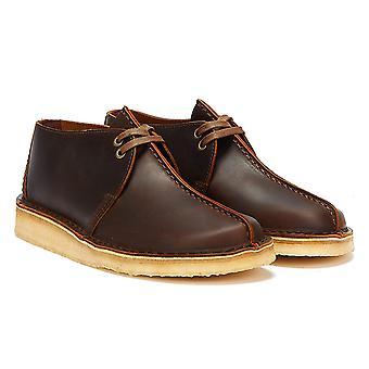 Clarks Desert Trek Leather Mens Beeswax Brown Shoes