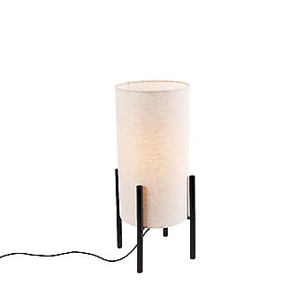 QAZQA Design table lamp black linen shade gray - Rich