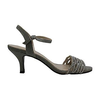 Caparros Womens Silver Gimmer Fabric Peep Toe Ankle Strap Classic Pumps