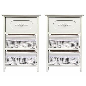 Set Of 2 White Slim 3 Draw Bedside Table Cabinet