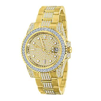 High Quality Iced Out Zirkonia Edelstahl Uhr - gold