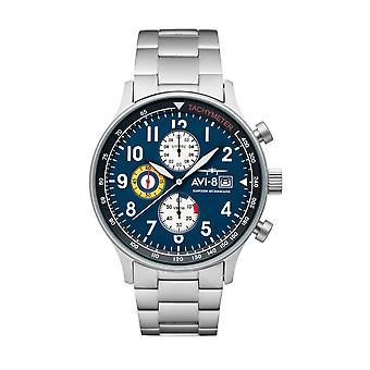 AVI-8 AV-4011-33 Hawker Kasırgası Kronograf Çelik Bilezik Kol Saati