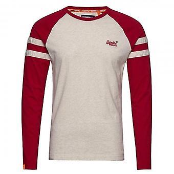 Superdry OL Softball Ringer LS T-Shirt Ecru Marl 43D
