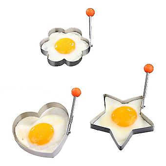 3 Pieces Fried Egg Ring Mold Stainless Steel Egg Form for Frying Cooking