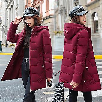 Kadın Kış Katı Kalın Artı Boyut 4xl Kapüşonlu Pamuk Dolgulu Gevşek Ceket