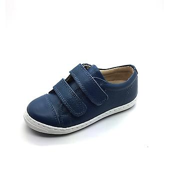 PETASIL Double Velcro Leather Trainer Styled Shoe Navy White
