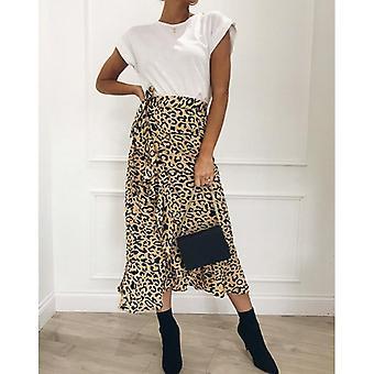 Women Leopard Print Maxi Skirt, Ladies High Waisted, Summer Long Skirts