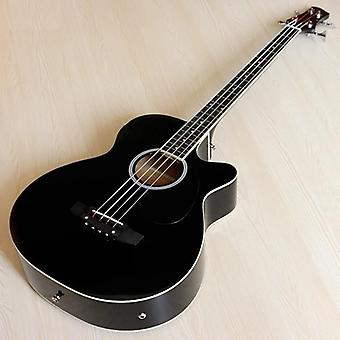 String Natural Color Acoustic Electric Bass Guitar High Gloss With Free Bag
