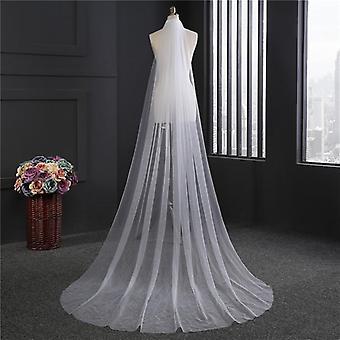 Eenlaagse lange bruidshoofdsluier