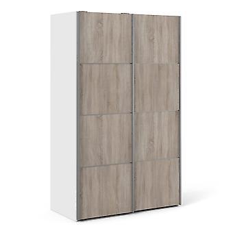 Phillipe Sliding Wardrobe 120cm In White With Truffle Oak Doors With Two Shelves