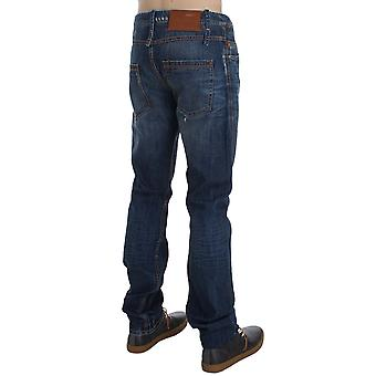 Acht Medium Blue Wash Cotton Denim Slim Fit Jeans