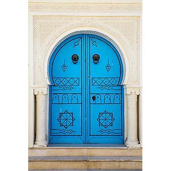 Tunisia, Kairouan, Madina, Sininen ovi. Suuri kehystetty valokuva. Tunisia, Kairouan, Madina, Sininen ovi.