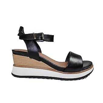 Tamaris 28015 Black Leather Womens Wedge Sandals
