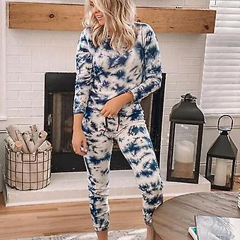 O-neck Tie-dye Long Sleeve Printed Sports Household Clothing Tracksuit