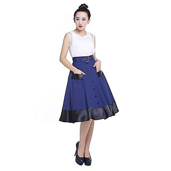 Chic Star Plus Size Pinup Skirt In Navy
