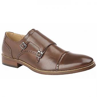 Goor Kent Mens Faux Leather Monk Shoes Brown