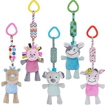 5pcs Cartoon Animals Baby Hanging Toys Children Rattle Toys With Chimes Soft Plush Rattling Doll