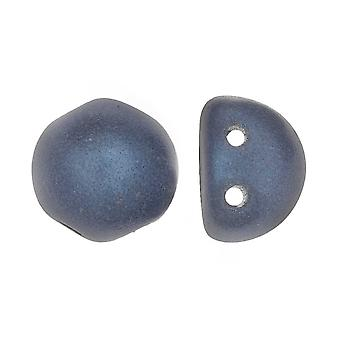 CzechMates Glass, 2-Hole Round Cabochon Beads 7mm Diameter, 25 Pieces, Metallic Blue Suede