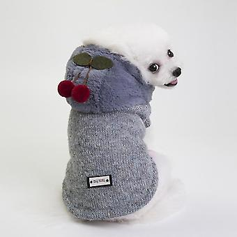 Dog cat clothes four-legged teddy bichon winter hooded cotton-padded coat