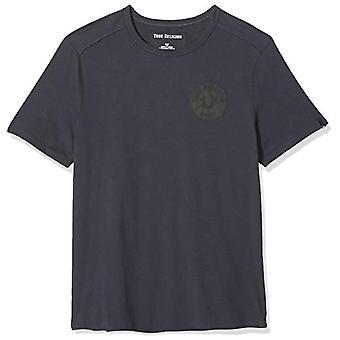 True Religion Crew T Shirt Multilogo, Grey (Ebony 4104), Small Man