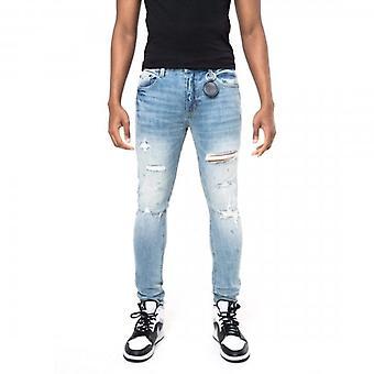 Amicci Erchie Skinny Fit Stretch Light Blue Denim Ripped Jeans