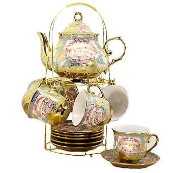 European Luxury High Class Gold Rim Porcelain Royal Afternoon Tea Party Coffee Ceramic Bone China Mug Cups Saucer Set