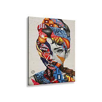 Street art schilderij gezicht vrouw sprakeloos