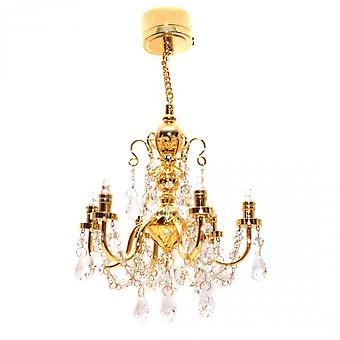 Dolls House Real Crystal 6 Arm Chandelier Gold Finish Led Battery Lighting 1:12