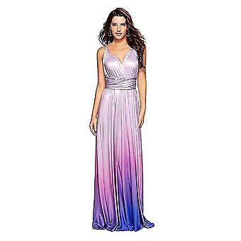 Xl púrpura de las mujeres sueltas maxi vestido largo casual con bolsillos x4072