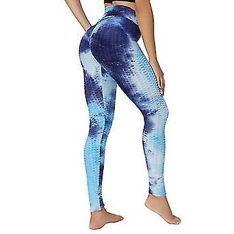 L modré vysoké pas jógové kalhoty cvičení sportovní bříško ovládací legíny 3 cesta úsek máslové měkké x2064