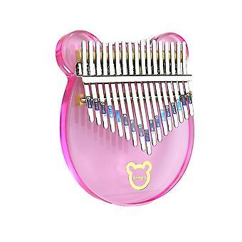 كاليمبا الإبهام البيانو الجديد 17 مفاتيح جميلة الدب الاكريليك آلة موسيقية للأطفال الوردي ES9320
