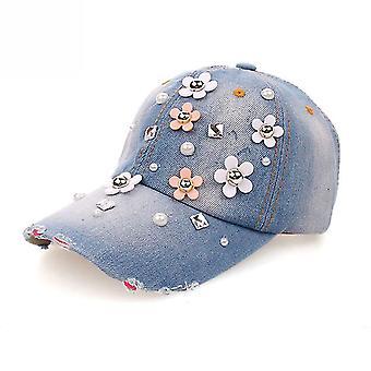 פרחוני ריינסטון סנאפבק האט גורה ג'ינס כובע בייסבול