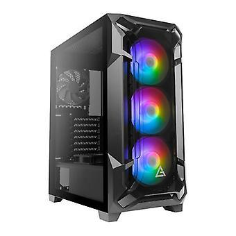 Antec DF600 FLUX RGB Gaming Case mit gehärtetem Glasfenster, ATX, ohne Netzteil, 5 x Lüfter (3 Front ARGB), Erweiterte Belüftung