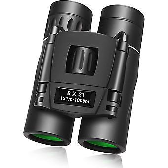 8x21 binoculars compact mini small binoculars lightweight for children opera binoculars handy for the soccer world cup opera sports safari bird watching,(black)