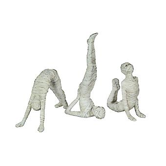 Set of 3 Stretching Yoga Pose Mummy Figurines