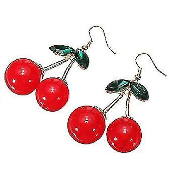 יפה דובדבן אדום פירות אוזן גביש ריינסטון אופנה קסם עגילי קסם (ורוד)