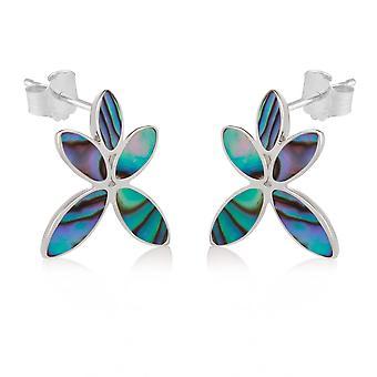 ADEN 925 Sterling Silver Abalone Moeder-van-parel Flower Earrings (id 3697)