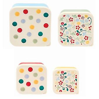 Storage tanks - set of 4 snack tubs/food storage containers - polka dots