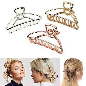 3 multifunktionelle metal klo geometriske hule hår klip egnet til kvinder og piger til at fastsætte hår