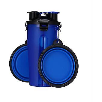 Tragbare Haustier-Wasserflasche 2-in-1 Doppelkammer-Tierfutterbehälter mit Set von 2 zusammenklappbaren Schüsseln für Hunde / Katzen (blau)