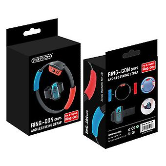 Ring-con Grips And Leg Strap Compatible With Adventure Ring Fit Nintendo Switch Game, Include 2 Ring-con Breathable Grips (red & Blue) And 1 Adjustabl
