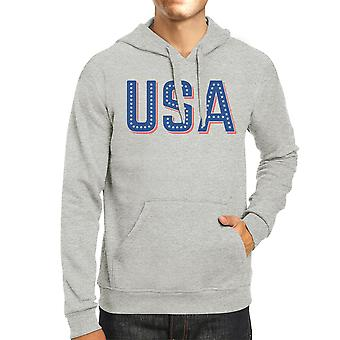USA With Stars Unisex Gray Cute Independence Day Hoodie Gift Idea