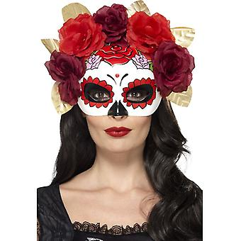 Day of the Dead Rosen Blumen Augen Maske Halbmaske Mexiko Halloween
