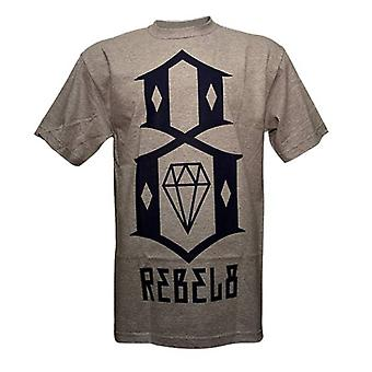 Rebel8 Logo T-shirt Heather Grey Navy