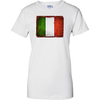 Italien Grunge Grunge Effekt Flag - Tricolore - Damen T Shirt