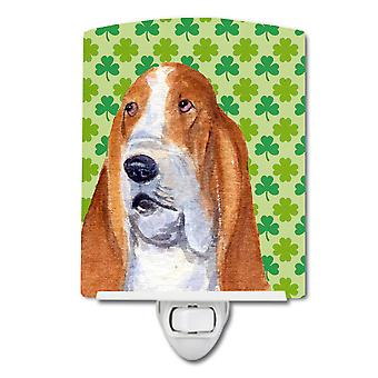 Basset Hound St. Patrick's Day Shamrock Portrait Ceramic Night Light