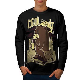Deal It Bear Funy Men BlackLong Sleeve T-shirt | Wellcoda ( Wellcoda )